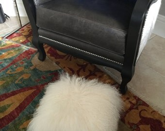 Real Natural Mongolian Lamb Fur Up Cycled Antique Cast Iron Foot Stool Bench Tibet Lamb Sheepskin Ottoman ~ SNOW WHITE
