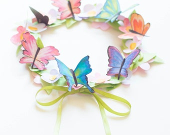 Paper watercolor butterflies and flower crown and-or garland Downloadable, printable DIY PDF Instant Download