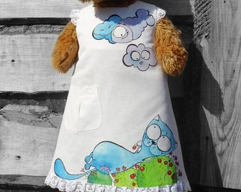 Girl dress -blue cat - painted dress- white dress - ON ORDER ONLY - children summer clothing - my little cat - rustic  linen girl dress