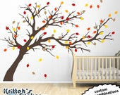 Wind Blown Tree with Fall Colored Leaves multicolor DIY Vinyl Wall Decal Mural K591