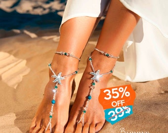 Beach wedding barefoot sandals Bridal foot jewelry Rhinestone starfish barefoot sandals Barefoot Sandals Bridal shoes Footless sandals Blue