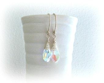 Swarovski Crystal Earrings - Bridal Sterling Silver Earrings - Handmade Wire Wrapped Earrings in Silver