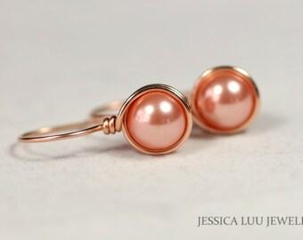 Rose Gold Earrings Peach Pearl Earrings Wire Wrapped Jewelry Rose Gold Pearl Earrings Rose Gold Pearl Jewelry Swarovski Bridal Pearl Jewelry