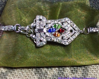 Upcycled 30's Dress Clip & Expandable Watchband Bracelet Silver Colorful Rhinestones Layering Stacking One-of-a-Kind Bling WishAnWearJewelry