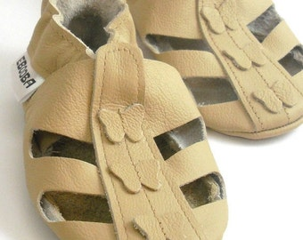 soft sole baby shoes handmade infant gift sandals beige with butterflies 6 12  ebooba SN-82-BE-T-2