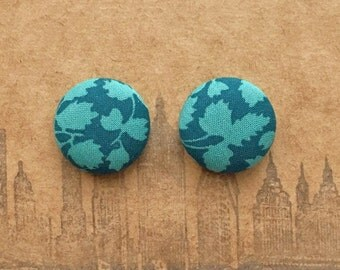 Button Earrings / Fabric Covered / Teal Blue / Wholesale Jewelry / Leaf / Hypoallergenic Studs / Handmade in USA / Bridesmaids Gifts