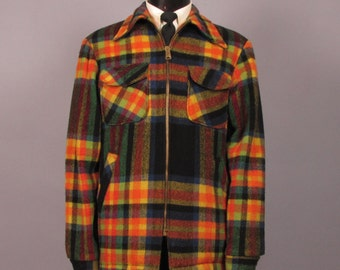 Winter Coat -- Men's Vintage Multi Color Wool Plaid Jacket by McGregor -- Mens Size XL (42 Extra Long)