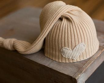 Newborn Hat, Upcycled Newborn Hat, Tan Newborn Hat, Neutral Newborn Hat, Knot Hat, Sleepy Time Hat, Newborn Photo Props, Newborn Photography