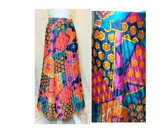 20% OFF SUMMER SALE / Vintage 1960's Psychedelic Quilt Skirt