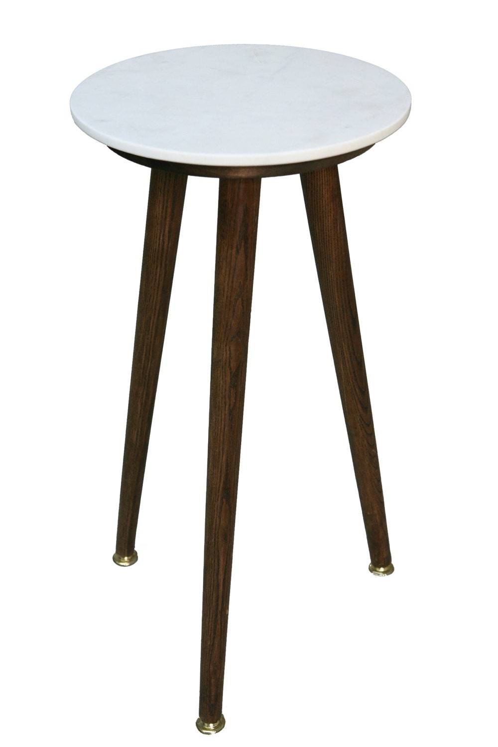 round white marble danish side table by postdallas on etsy. Black Bedroom Furniture Sets. Home Design Ideas