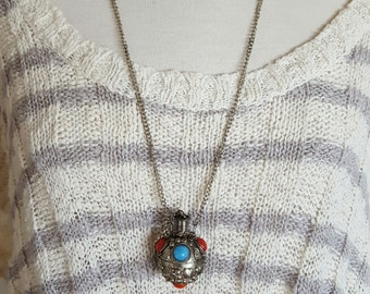 Indian vintage perfume locket necklace/ red blue beaded metal locket charmed/gypsy bohemian folk jewelry/1970s estate find/hippie/Christmas