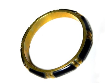 Brass Ebony Black Bangle Bracelet 60s Vintage Mid Century Collectible Jewelry For Women Brass And Ebony Bangle Geometric Sophistication