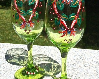 Hand Painted Christmas Wine Glasses With Free Wine Charms, Holiday Gift Ideas, Christmas Gift, Holiday Gift, Christmas Decor, Home Decor