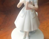 Vintage 1983 Lefton Nurse Figurine Music Box, Hand Painted,  Plays Just A Spoonful of Sugar, #03550