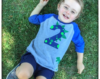 Custom Dinosaur Toddler Birthday Number Shirt with Name on Back Birthday Shirt Age First Birthday Second Birthday