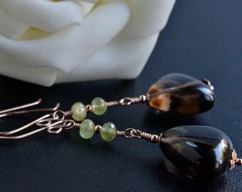 Smoky Quartz and Garnet Earrings, 14K Rose Gold Filled, Handmade, Grossular Garnet, Brown and Green Gemstones