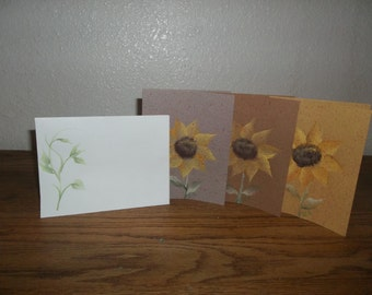 Sunflower greeting cards, One Stroke by Donna Dewberry style, blank