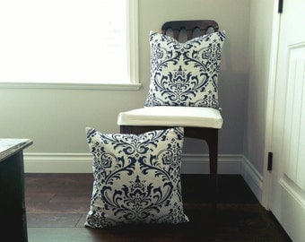 SALE! Set of TWO Blue and White Damask Pillow Covers 20x20 Cottage Chic 18x18 Victorian Throw Pillows Beach home FREE shipping Blue cushions