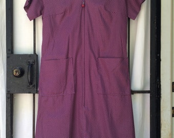 purple polka dot uniform dress zip front L XL waitress Carolina Maid adorable front pocket casual 60s
