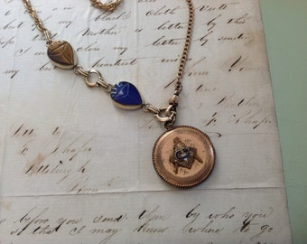 CAVIAR DREAMS Vintage Gold Filled Round Enamel Freemason Locket Gemstone Scarabs Lapis Tigers Eye and Watch Chain - 20""