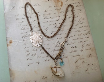 CAVIAR DREAMS Vintage Assemblage 1930's Mother of Pearl Horse Fob and Floral Heart Charm Gold Filled Watch Fob Necklace - Etsy andersonhs
