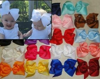 SET of EXTRA LARGE Bow Headbands, Baby Bow Headband, Hair Clips, Newborn Hair Bows, JoJo Bow, Infant Headbands, Baby Headbands, Bow Headband
