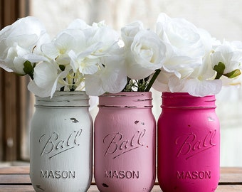 Painted Distressed Mason Jar Vases - Pink, Hot Pink, White - Weddings, Showers, Home Decor, Centerpiece, Event Vase