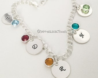 Charm Bracelet Sterling Silver Initial Charms Birthstones Names Kids Grandkids Mother Daughter Mom Grandma Gift Initials Family Chain