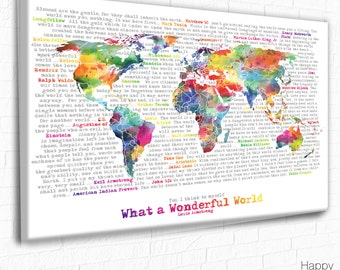 World Map with quote, Wonderful world, Word Art, Inspirational Quotes, World Map canvas, Printable Wonderful World, Motivational Print, Map