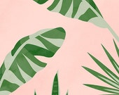 "Printable Art ""Plants On Pink II"", Banana Leaf Print, Tropical Print, Wall Art Print, Tropical Leaves, Monstera, Snake Plant"