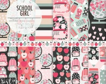 BACK to SCHOOL digital paper kit. Schoolgirl backpack, apples, globes, pencil, flower and heart digital papers for girls,