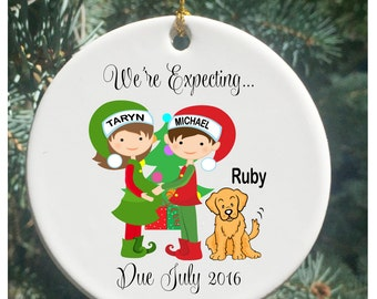Personalized Christmas Ornaments We're Expecting...Again Pregnancy Ornament with Dog