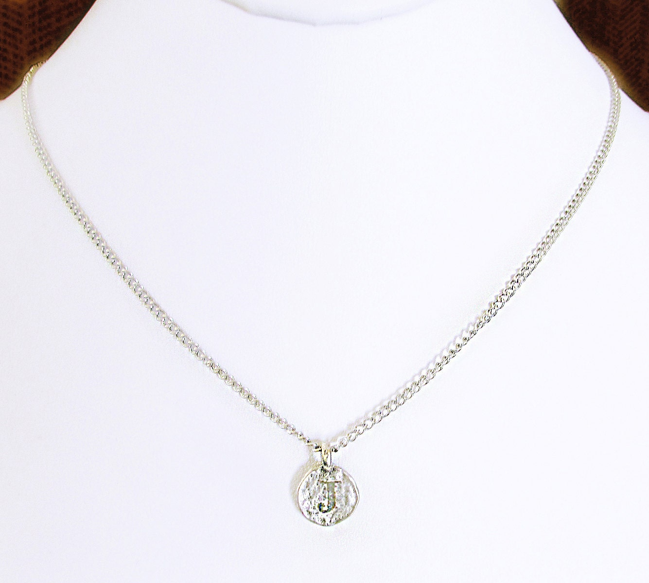 silver j initial hammered coin necklace j