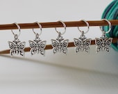 5 Stitch Marker Butterfly Set of Silver Stitchmarker Knitting Charms to Mark Stitches Knit Gift Crochet Removeable Spring