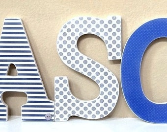 Custom Nursery Letters, Baby Boy Nursery Decor, Blue and Gray, Wooden Letters, Wall Letters, Hanging Letters, The Rugged Pearl