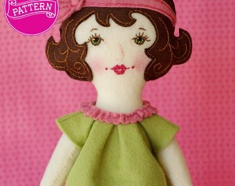 PDF Doll Pattern, Wool Felt Doll, Art Doll, Wool Felt Pattern, Gifts for Children, Embroidery Doll, Toys & Gifts, Handmade Doll, 1920s Girl