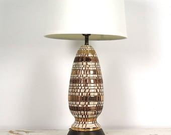 Mid Century Ceramic Mosaic Lamp Gold and Cream