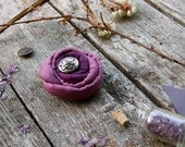 Textile brooch Purple Rose, silk fabric and metal, purple and lilac color, soft fiber jewelry, Bohemian and Shabby chic style, Flower brooch