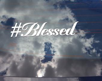 2 #Blessed Window Decal Truck Car Van Back Glass Sticker Jesus Religion Christian Catholic Methodist Pentecostal God Bless Blessed Hashtag #