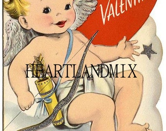 Vintage Valentine Card Download Art Graphic Image printable Baby First Valentine