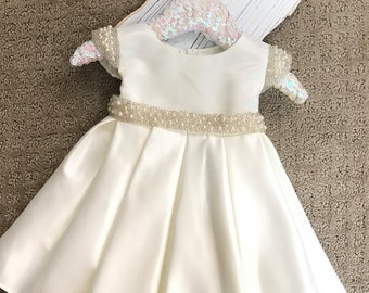Vintage Flower Girl Dress White or Ivory Satin flower girl dress Christening Baptism Baby Dress white satin baby dress dedication ceremony