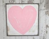 Big pink heart rustic wood sign