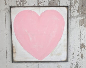 Big pink heart rustic wood sign
