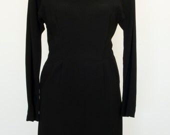 1950s Little Black Dress/Vintage Black Dress/Velvet Trim Black Dress/Petite Lady Modes Dress