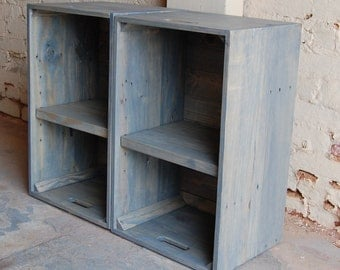 Large Wooden Crates/ Nightstand/ Pair of Side Tables/ End Tables/ Reclaimed