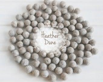 Wool Felt Balls - Size, Approx. 2CM - (18 - 20mm) - 25 Felt Balls Pack - Color Heather Dune-9005 - 2CM Marble Color Felt Balls - Felt Balls