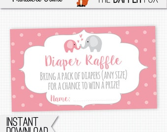 Diaper Raffle Pink Elephant Raffle Ticket Baby Shower insert card - printable - Polka Dot Baby Girl Pink and Grey Cute Elephant