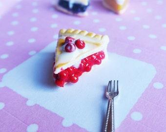 Cherry Pie Charm with vanilla sauce - pie charm, food charm, food jewelry, bag charm, key charm