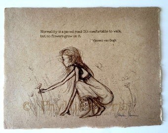 Girl Picking Flowers - with or without quote - Vintage style sketches on handmade paper - Rustic and romantic