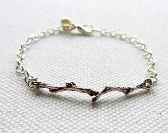Silver Branch Bracelet Everyday Jewelry Delicate Bracelet Simple Twig Bracelet Silver Chain Nature